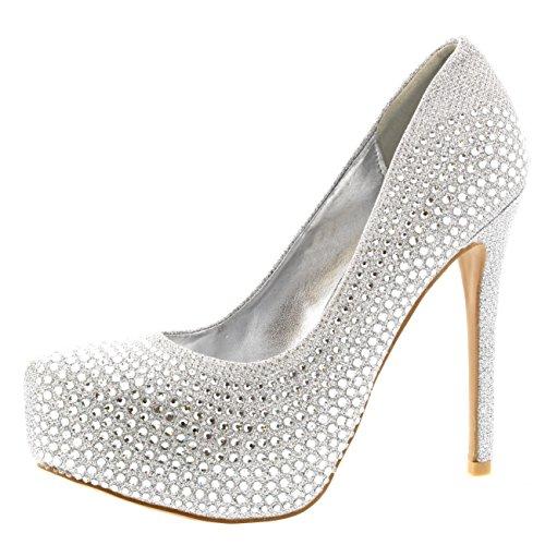 Viva Womens Evening Platforms High Heels Stiletto Diamante Party Court Shoes - Silver - US7/EU38 - KL0115