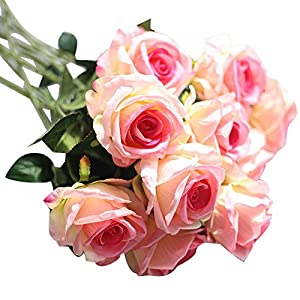 Lankcook 5PC Artificial Fake Roses Flannel Flower Bridal Bouquet Wedding Party Home Decor 45