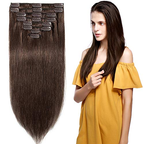 8 inch 65g Clip in Remy Human Hair Extensions Full Head 8 Pieces Set Long length Straight Very Soft Style Real Silky for Beauty #4 Medium - Extensions Wonder Hair