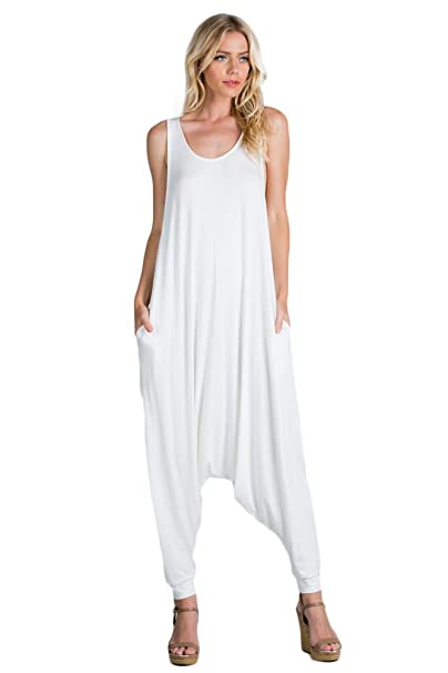 f2239c3729c8 Annabelle Women s Comfy Rayon Solid Color Sleeveless Harem Jumpsuits Off  White Large J8004A