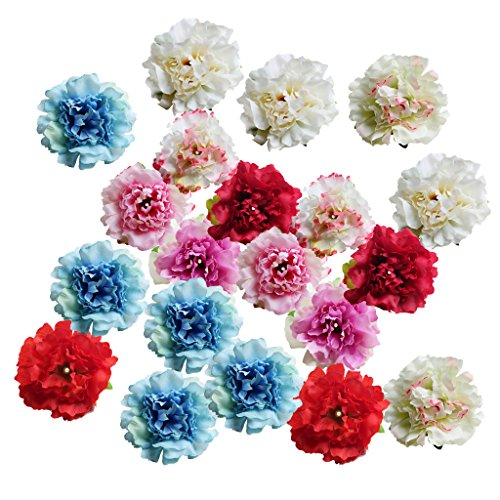 Silk Flower Accents - MonkeyJack 20 Pieces 6cm Silk Artificial Peony Heads Flowers Head For Wedding Decoration DIY Wreath Gift Box Scrapbooking Craft Fake Flowers - mixed