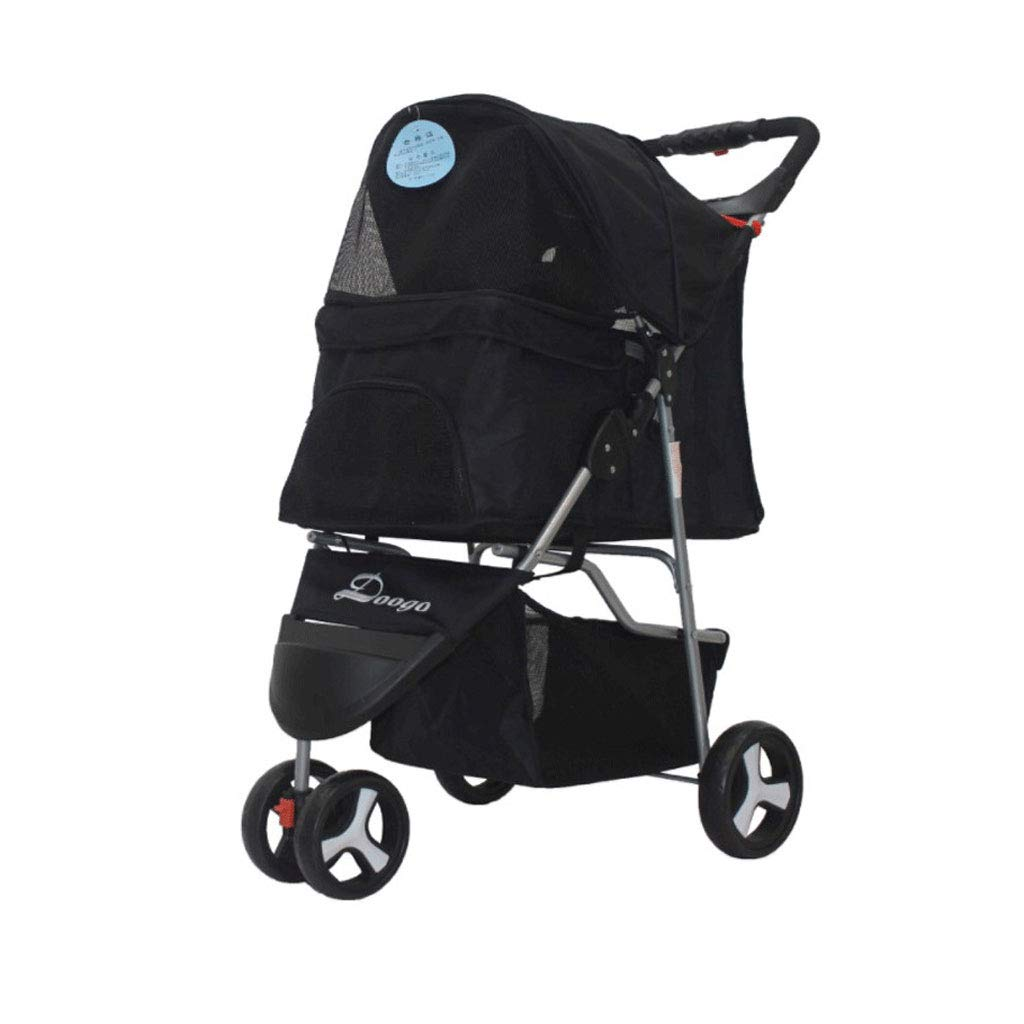BLACK KKCD-Dog Strollers Pet Stroller Sun Predection Folding Three-Wheeled Multi-purpose Cart Out Light Hand Trolley Pet Car For Small Pets. Cat Stroller (color   BLACK)