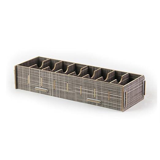 Gossipboy Visitenkarten Organisator 8 Fächer Aus Holz Abnehmbare Trenner Ideal Fürs Büro Und Schreibtisch Grau