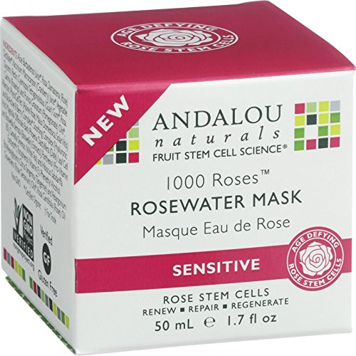 Andalou Naturals Rosewater Mask - Age Defying - Senstitive - Gluten Free - 1000 Roses - 1.7 oz (Pack of 2) (Andalou 1000 Roses Rosewater Mask)