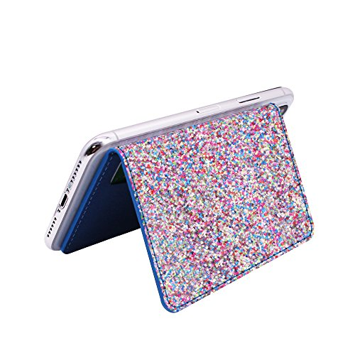 Clarkszone Flip Card Holder For Apple Phone Sequin Glitter Wallet Case  3M Adhesive  Stick On Slim Credit Card Id Card Slot For Apple Iphone X Iphone 8 Iphone 8 Plus Iphone 7 Iphone 6S  Color Glitter
