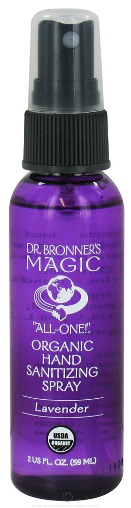 Dr. Bronner's Organic Lavender Hand Sanitizer Spray 2 Ounces (Case of 12)