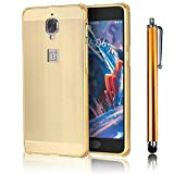 Phone Case for OnePlus 3T / OnePlus 3, Bonice Premium Luxury Super Stylish Edge Shockproof Metal Frame + Acrylic PC Back Case Bumper Protective Cover for OnePlus 3T, OnePlus 3 + Metal Stylus Pen, Gold