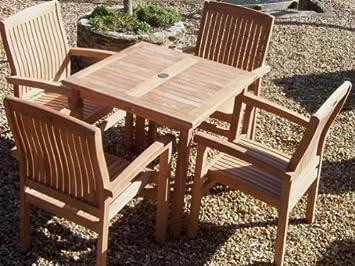 Romsey 4 Juego de muebles de jardín - Madera de teca - 80 cm ...