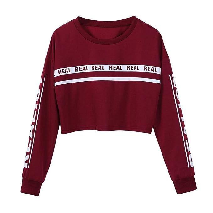 36e9980d14 Sudadera con Manga Larga Jersey con Rayas Suéter con Estampado Blusas  Estampadas Blusas Casual Sport Outdoor Coats Vino Rojo XL  Amazon.es  Ropa  y ...