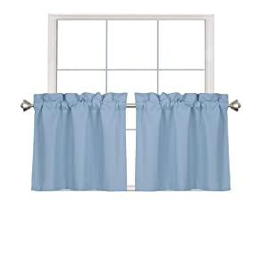 Home Queen Blackout Rod Pocket Tier Curtains for Small Window, Short Room Darkening Kitchen Curtains, Café Drapes, 2 Panels, 30 W X 24 L Inch Each, Slate Blue