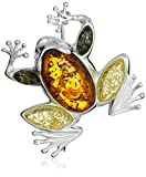 Sterling Silver and Multicolor Amber Frog Pin