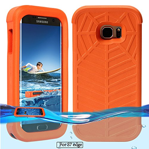 Temdan Galaxy S7 Edge Floating Case with a 0.2mm clear&thin Waterproof Bag Shockproof Lifejacket Case for Samsung Galaxy S7 Edge (5.5inch) -Orange