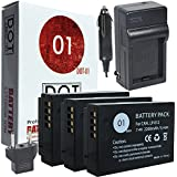 DOT-01 3x Brand Canon EOS M100 Batteries and Charger for Canon EOS M100 DSLR and Canon M100 Battery and Charger Bundle for Canon LPE12 LP-E12