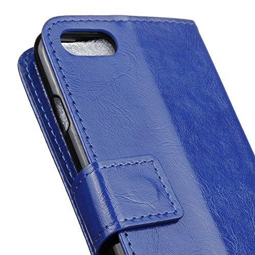 Lusee® PU Caso de cuero sintético Funda para XiaoMI MI 6 Plus 5.7 Pulgada Cubierta con funda de silicona botón caballo Loco patrón negro caballo Loco patrón azul