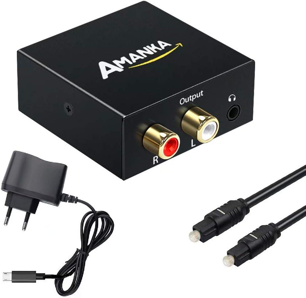 Convertidor Digital a Analógico, AMANKA DAC Audio Óptico Coaxial(RCA) Toslink SPDIF a Audio Estéreo R/L + Jack 3.5mm con Cable Óptico