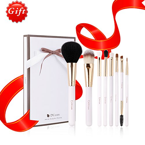 DUcare 8Pcs Makeup Brushes Set Kabuki Foundation Blending Blush Eyeshadow Face Lip Brush Kits with Case Bag, Gloden