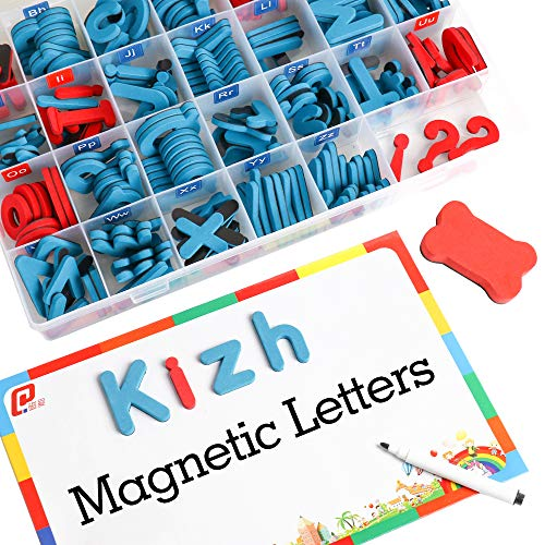 kizh Magnets Magnetic Letters for Kids with Magnetic Board - Uppercase Lowercase Foam Alphabet Magnets for Fridge Refrigerator Educational Toy Set for Classroom Kids Learning Spelling 208 PCS