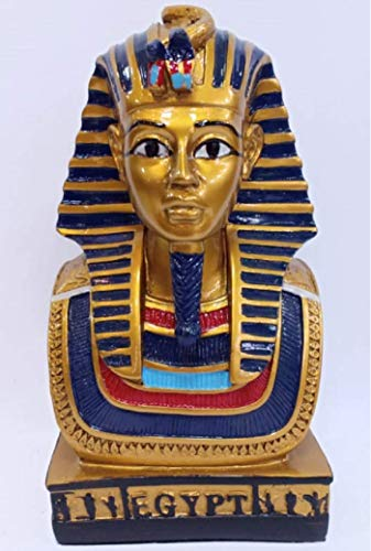 (Beautiful Colorful Gold Painted, Handcrafted Glass Fiber Sculpture of King TUT from Egypt - Height 7.48 INCHES ; 19)