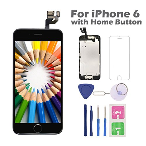 (for iPhone 6 Screen Replacement with Home Button, Arotech 4.7 Inch Full Assembly LCD Display Digitizer Touch Screen with Repair Tool Kit and Tempered Glass Compatible with A1549 A1586 A1589 )