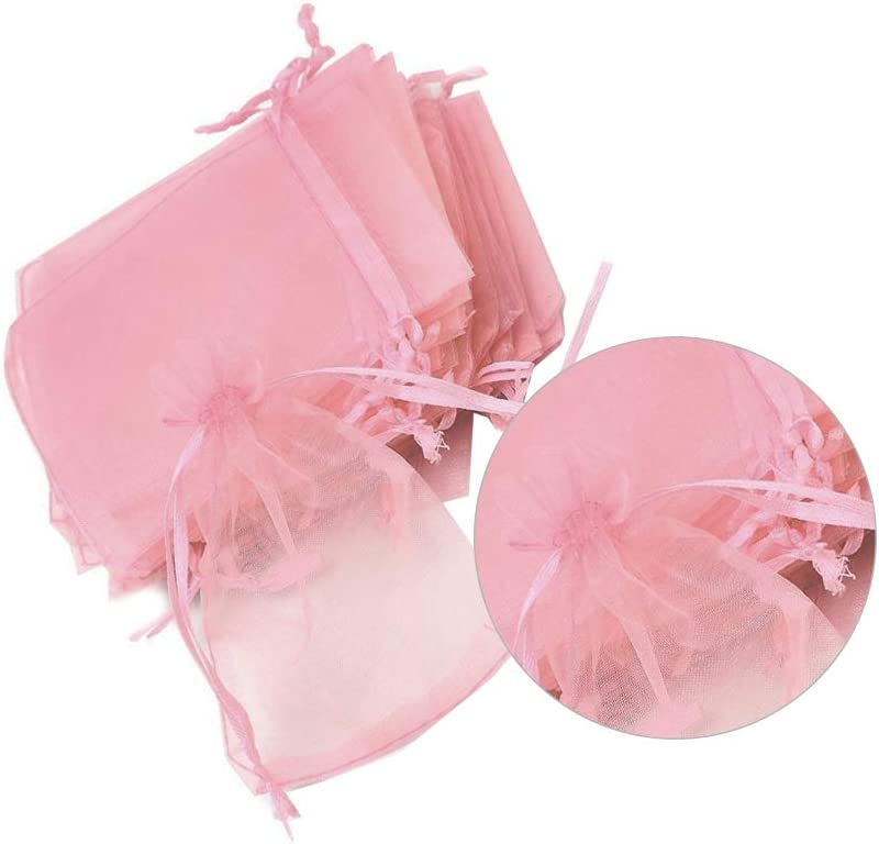 10 Pcs Organza Bags Drawstring Bag Portable Jewelry Pouches Transparent Gift Favor Bags for Wedding Party Candy Cookies Pink