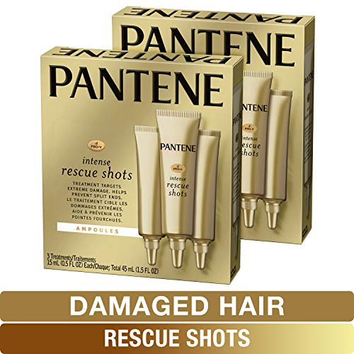 Pantene, Rescue Shots Hair Ampoules Treatment, Intensive Repair of Damaged Hair, Pro-V, 0.5 fl oz (3 Count), Twin Pack ()