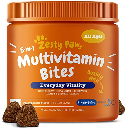 Multivitamin for Dogs - Glucosamine & Chondroitin + MSM for Hip & Joint + Arthritis - Fish Oil for Skin & Coat + Digestive Enzymes & Probiotics + CoQ10 Dog Vitamins - Peanut Butter - 90 Chew Treats ()