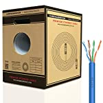 Mediabridge Cat5e Ethernet Cable (500 Feet, Blue) - w/Convenient Pull-Out Box - UL Listed cm Rated for in-Wall Use (Part# C5-500-BLUE) 8 Connects a computer to a printer, router, switch box or other network component in a wired Local Area Network (LAN). Share server files, use a network printer, stream audio or videos, link computers through a network switch and more, at data transmission speeds of up to 1000 Mbps (1 Gbps). Ideal for wired home or office use, this 24 AWG cable meets stricter TIA/EIA standards than conventional Category 5 cables, and can even handle bandwidth-intensive requirements. Compatible with 10/100 Base-T networks and feature enhanced 350 MHz bandwidth for distributing data, voice, and video at high-speeds. Pair with RJ45 connectors for professional custom installations. 24AWG durable build preserves signal quality & still manages to take up only minimal wall space.