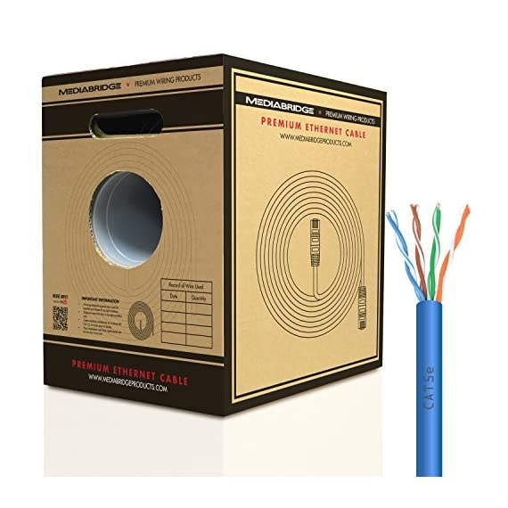 Mediabridge Cat5e Ethernet Cable (500 Feet, Blue) - w/Convenient Pull-Out Box - UL Listed cm Rated for in-Wall Use (Part# C5-500-BLUE) 1 Connects a computer to a printer, router, switch box or other network component in a wired Local Area Network (LAN). Share server files, use a network printer, stream audio or videos, link computers through a network switch and more, at data transmission speeds of up to 1000 Mbps (1 Gbps). Ideal for wired home or office use, this 24 AWG cable meets stricter TIA/EIA standards than conventional Category 5 cables, and can even handle bandwidth-intensive requirements. Compatible with 10/100 Base-T networks and feature enhanced 350 MHz bandwidth for distributing data, voice, and video at high-speeds. Pair with RJ45 connectors for professional custom installations. 24AWG durable build preserves signal quality & still manages to take up only minimal wall space.