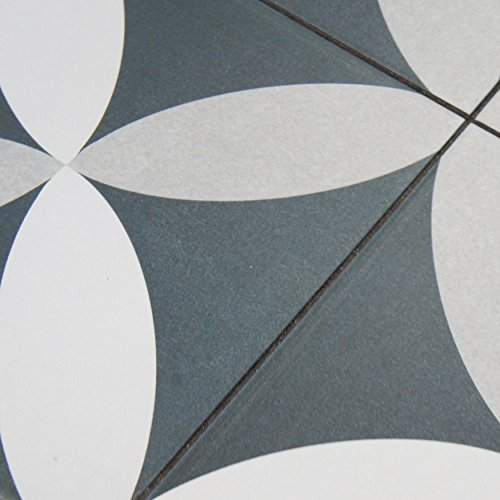 """chic SomerTile FRC8TWEP Fifties Ceramic Floor and Wall Tile, 7.75"""" x 7.75"""", White/Grey"""