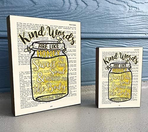 - Vintage Bible verse Scripture Art Print on Wooden Block - Proverbs 16:24 -Kind words are like Honey- Mason Jar Bees- Christian Home & Wall Decor Sign, Old House Dictionary Page, Christmas gift
