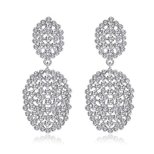 mecresh Clear Color Rhinestone Beads Dangle Drop Earrings for Women Bridesmaids