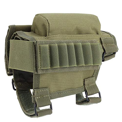 (Asixx Cheek Rest, Tactical Adjustable Rifle Cheek Pad Buttstock Cartridge Holder Triple Hook and Loop Adjustment,Removable Padded Insert (Army Green))