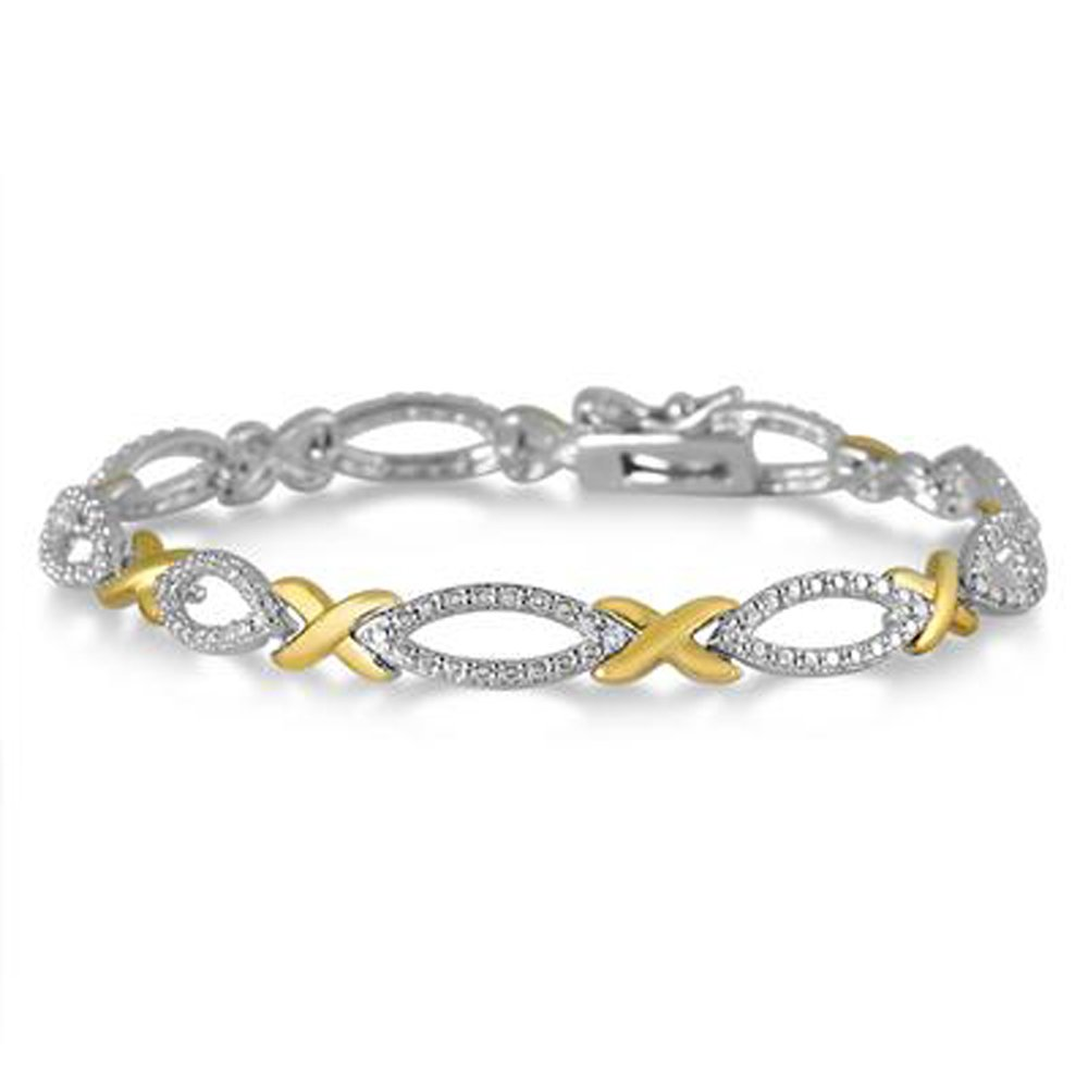 Triostar Valentine Day Special 925 Sterling Silver Simulated Diamond Fashionable Party Link Bracelet