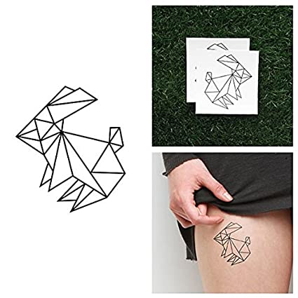 Tatuaje Temporal Tattify - Conejo de Origami - Salta (juego de 2)