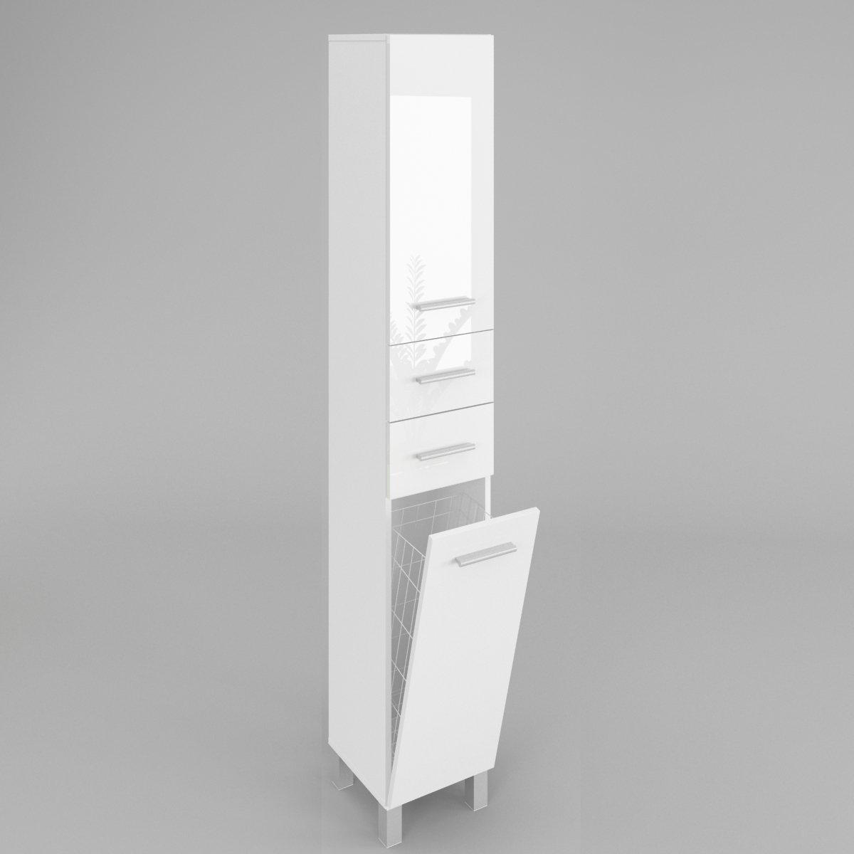Badezimmerschrank HOCHSCHRANK mit wäschekorb SW15 in Weiß ...