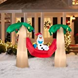 Gemmy Airblown Inflatable Olaf with Santa Hat in Hammock Between Two Palm Trees - Hawaiian, Beach or Pool Party Decoration Props, 7.5-feet Wide
