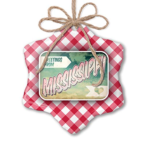 NEONBLOND Christmas Ornament Greetings from Mississippi, Vintage Postcard Red Plaid (Postcard Mississippi)