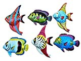All Seas Imports Multi-color Exotic Set of (6) Decorative Wall Decor Fish with Free Fish Net