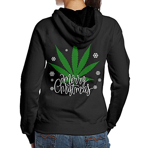 Back-charm Women's Merry Cannabis Christmas Weed Classic Print Pullover Hooded Sweatshirt Hoodies S