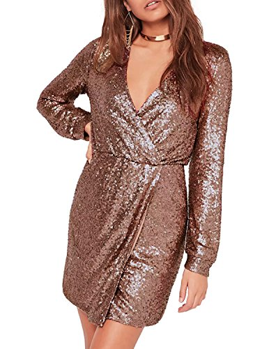 Disco Mini Dress (IRISIE Women Sequins Wrap Deep V-Neck Long Sleeve Split Mini Dress(XXL,Gold))
