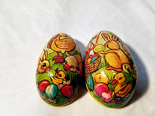Vintage Collectible Easter Paper Mache Egg with Bunny, Ducks and Lamb Paper Mache Easter Egg