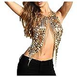Women's Body Belly Chain Gold Bra Jewelry Sexy Necklace Bikini for Beach Party
