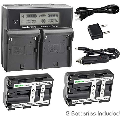(Kastar LCD Dual Smart Fast Charger & 2 x Battery for NP-FM500H NP-FM500 and Sony Alpha SLT A58 A57 A65 A77 A99 A77V A77II A350 A450 A500 A550 A700 A850 A900 CLM-V55 DSLR Camera)