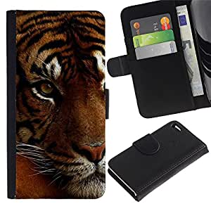 iKiki Tech / Cartera Funda Carcasa - Tired Sleepy Big Cat Orange Fur Tiger - Apple iPhone 4 / 4S