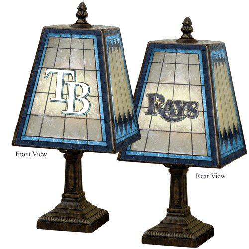 MLB Tampa Bay Devil Rays 14-Inch Art Glass Lamp