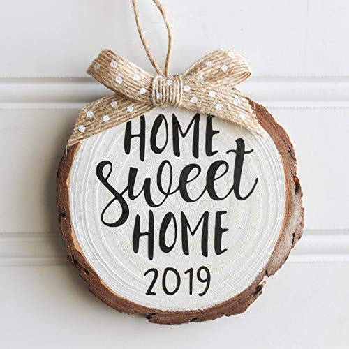 Home Sweet Home 2019 Wood Slice Christmas Ornament (Gift Box Included) White w/Burlap (Gifts The For Home Rustic)