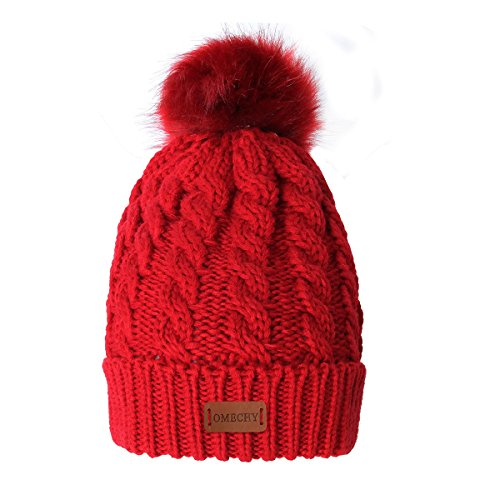 (OMECHY Women's Winter Knit Hat Trendy Slouchy Beanie with Warm Fleece Lining Skull Chunky Soft Thick Cable Ski Cap, Red)