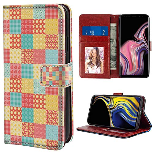 Abstract Patchwork Style Ornamental Hearts Flowers Dots Stripes Kitchen Design Coral Yellow Mint Green Wallet Phone Case for Galaxy Note 9 6.4-Inch with Coin Slot Case