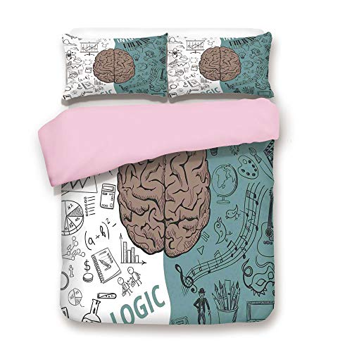 (Pink Duvet Cover Set,Queen Size,Brain Image with Left and Right Side Music Logic Art Side Science Print,Decorative 3 Piece Bedding Set with 2 Pillow Sham,Best Gift For Girls Women,White Teal Umber)