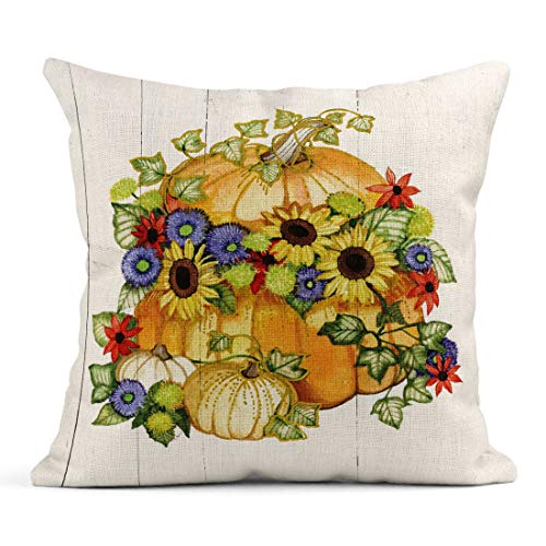 (Tarolo Linen Throw Pillow Cover Case Autumn Days Seasons Decorative Pillow Cases Covers Home Decor Square 20 x 20 Inches Pillowcases)